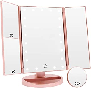 COSMIRROR Makeup Vanity Mirror with 21 LED Lights, Trifold Lighted Makeup Mirror with 1X/2X/3X/10X Magnification and Touch Screen, 180 Degree Rotation, Dual Power Supply Light Up Mirror (Rose Gold)