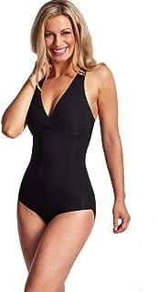 LaSculpte Women Seamless Tummy Control Shapewear Bodysuit Microfiber Body Shaper, Black/Nude, 10-22