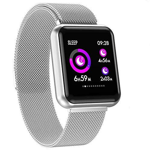 Fitnessarmband met hartslagmeter, waterdicht conform IP67, fitnesstracker, smartwatch, activiteitstracker, hartslaghorloge, stappenteller, horloge, sporthorloge voor dames en heren, notificaties voor iPhone en Android mobiele telefoons, zilver