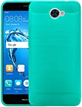 COVERLABUSA Comptiable for Huawei Ascend XT 2 Case, Huawei Elate 4G LTE Case, Carbon Fiber Shock Resistant Brush Texture Soft TPU Phone case Anti-fingerprint Flexible Protective Cover (Teal)