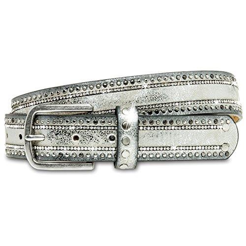 Caspar GU306 Cinturón Estrecho para Mujer con Estrás y Remaches, Color:plateado, Tamaño:95 [circunferencia 96-100 cm] (Ropa)