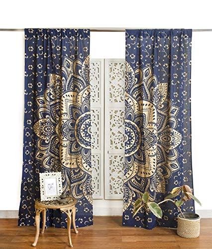 Popular Handicrafts Indian Hippie Bohemian Beautiful Passion Ombre Color Mandala Curtain Panels Blue Gold