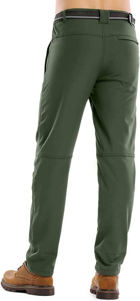 Soft Shell Insulated Trousers Asfixiado Mens Outdoor Fleece-Lined Windproof Waterproof Hiking Mountain Ski Pants