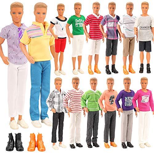 Miunana 8 Kleidung für Jungen Puppen = 3 Freizeitbekleidung Kleidung + 3 Hosen +2 Paar Schuhe für Puppen