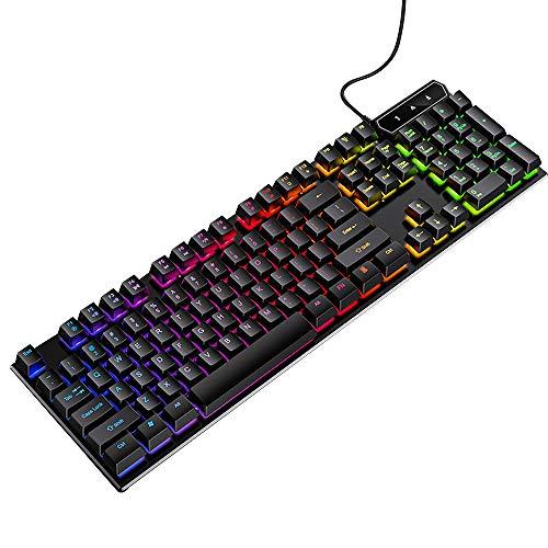 Osairous Teclado para Juegos, LED Teclado Retroiluminado de Moda, USB con Cable Accesorios de Computadora para PC Portátil