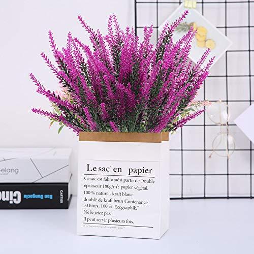 XHXSTORE 4 Pcs Künstliche Lavendel Blumen Lila Kunstblumen Kunstpflanzen Lavendel Plastik Pflanzen für Hochzeit Balkon Garten Zuhause Büro Party Blumenkasten Vase Dekoration - 4
