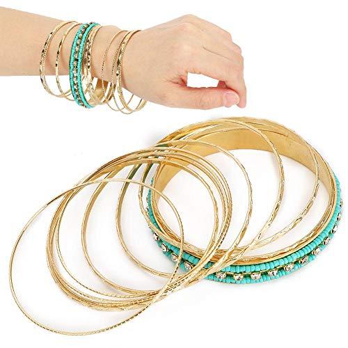 【𝐎𝐬𝐭𝐞𝐫𝐟ö𝐫𝐝𝐞𝐫𝐮𝐧𝐠𝐬𝐦𝐨𝐧𝐚𝐭】 Armbänder im indischen Stil, mehrschichtige Damenmode Armband Strass Perlen Armband Armreifen Set Schmuck Zubehör, Geschenk für ältere/kleine Schwester