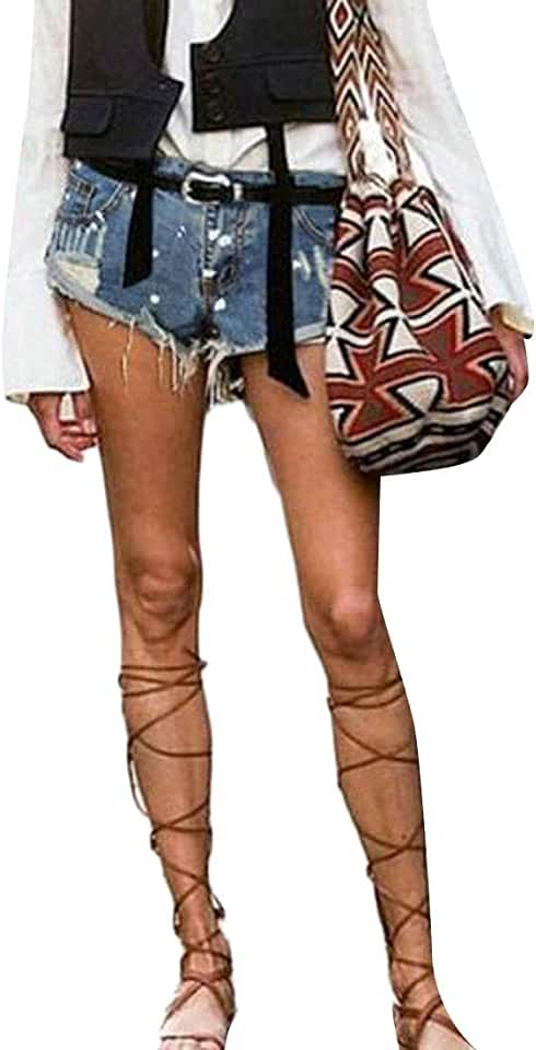MOUTEN Women Mid Waisted Polka Dot Bodycon Ripped Distressed Denim Shorts Jeans Hot Pants