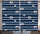 ABAKUHAUS Azul Marino Cortinas, Marinero Nudos Marineros, Sala de Estar Dormitorio Cortinas Ventana Set de Dos Paños, 280 x 225 cm, Azul y Blanco