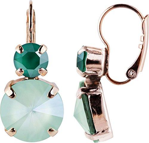 Rosi Rosegold Klassik mit Rivoli Ohrring, Farbe:Crystal Mint Green