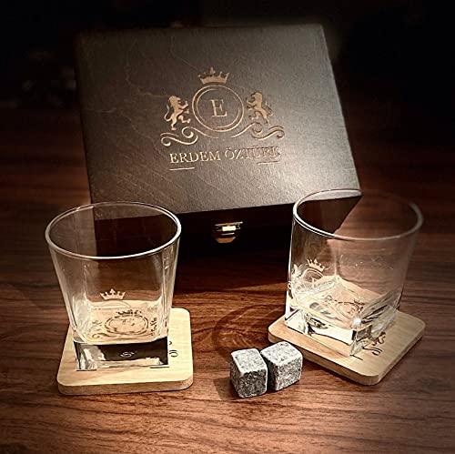Personalized Whiskey Real Glasses 10 oz & Whiskey Stones Gift Set for Men Women,2 Large Crystal Whiskey Glasses - Set in Handmade Wood Box (Walnut)
