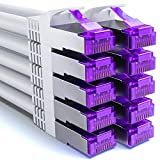 deleyCON 10x 2m RJ45 Cable de Conexión Ethernet & Red con Cable en Bruto CAT7 S-FTP PiMF Blindaje Gigabit LAN SFTP Cobre DSL Conmutador Enrutador Patch Panel - Blanco