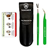 TickCheck Premium Tick Remover Kit - Stainless Steel Tick Remover + Tweezers, Leather Case, and Free Pocket Tick Identification Card (1 Set)