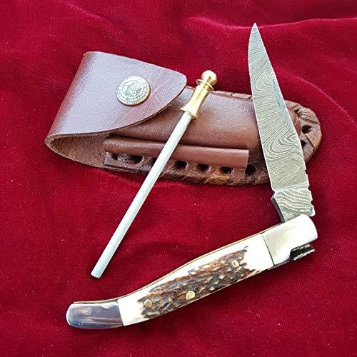 CRAFTOMATIK Damast-Stahl Taschenmesser | Messerschärfer | Damaszener Klinge | Hirschhorn | FK03