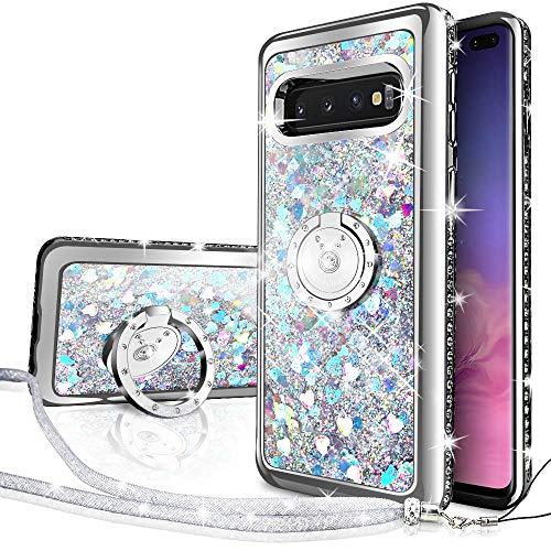 Silverback Galaxy S10 Plus Case, Moving Liquid Holographic Sparkle Glitter Case with Kickstand, Bling Diamond Rhinestone Bumper W/Stand Slim Samsung Galaxy S10 Plus Case for Girls Women -Silver
