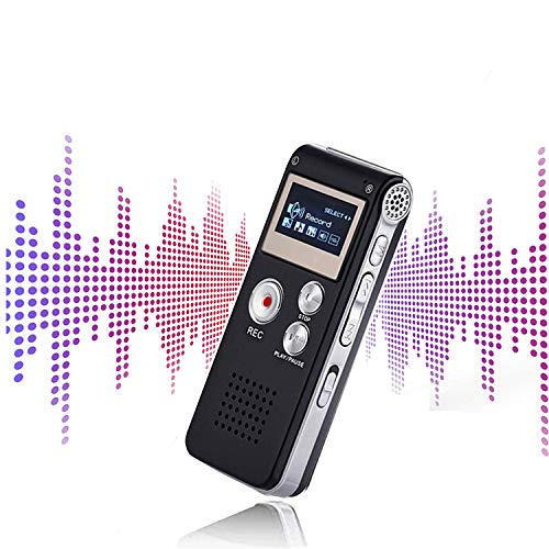 Mini Voice Recorder for Lectures Meetings&Class -JAOK 8GB Digital Activate Audio Tape Recording Device with Double Sensitive Microphone&MP3 Playback (Black)