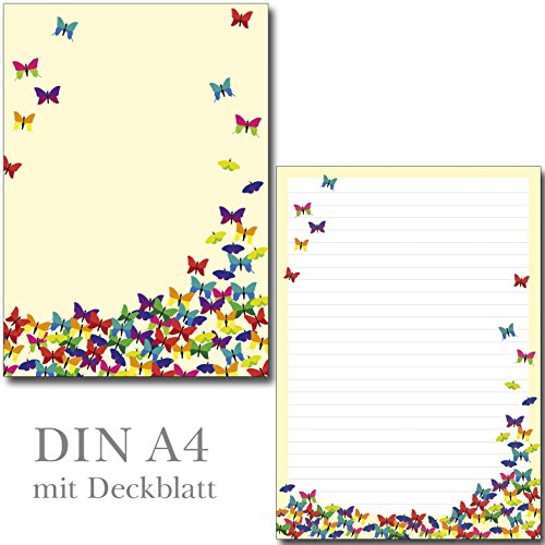 1 Schreibblock bunte Schmetterlinge 26 Blatt Format DIN A4 mit Deckblatt 7210