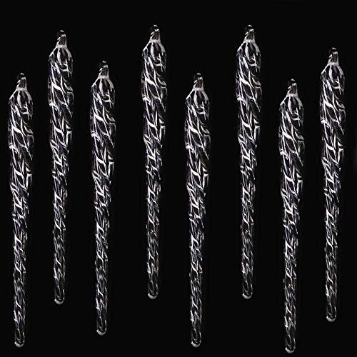 HERZWILD 8pcs Glas eiszapfen christbaumschuck eiszapfen deko ca.14cm Christbaum Anhänger (Glas eiszapfen)
