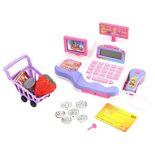 Pretender la Caja registradora electrónica Playset Supermercado Checkout Toy Jugar Dinero y Tarjetas de crédito Niños Niños Juguete Educativo