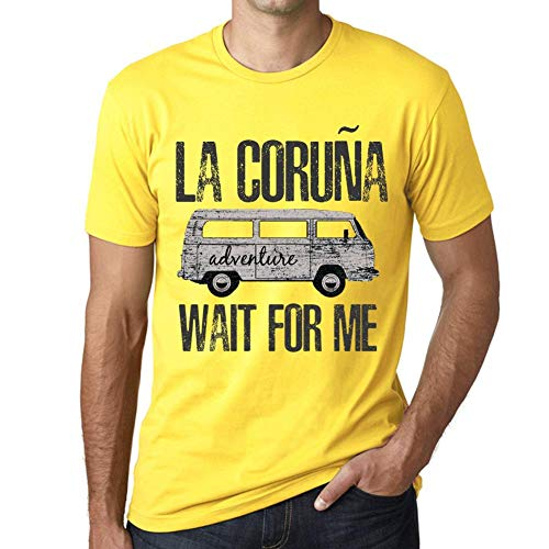 One in the City Hombre Camiseta Vintage T-Shirt Gráfico LA CORUÑA Wait For Me Amarillo