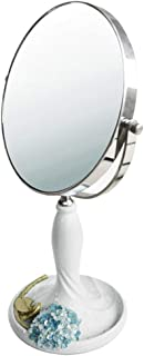 Vanity Mirror Desktop Makeup Mirror White Red and Blue Base Design 360 Degree Free Rotation Bracket Double-Sided Resin HD for The Family (Color : White, Size : 8 inches)