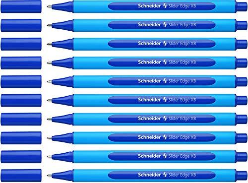 Schneider Slider Edge XB Kugelschreiber (Strichstärke: XB, dokumentenecht, Dreikant-Stift) 10er Packung blau