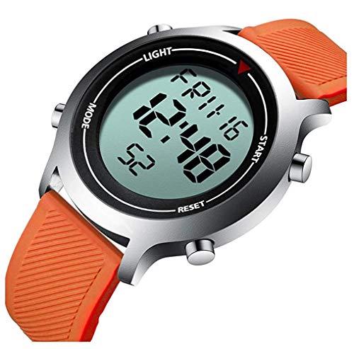 Herren Digitaluhr LED-Anzeige Militär Sportuhr Mann Elektronische Armbanduhr Wasserdicht Herrenuhr, Orange