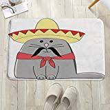 Alfombrilla de baño antideslizante, para baño o ducha,Gato, Ilustración moderna de gatito latino con sombrero mexica, alfombra de suelo absorbente, para sala de estar, sofá, cojín, caucho, 60 x 100 cm