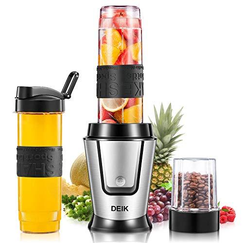 DEIK Mixer, 6 in 1 mit 3 tragbaren Flaschen, multifunktionaler Zerkleinerer mit 4 Klingen aus Edelstahl für Milchshakes, Eis, Obst, Gemüse und Babynahrung, 500 W, 32000RMP