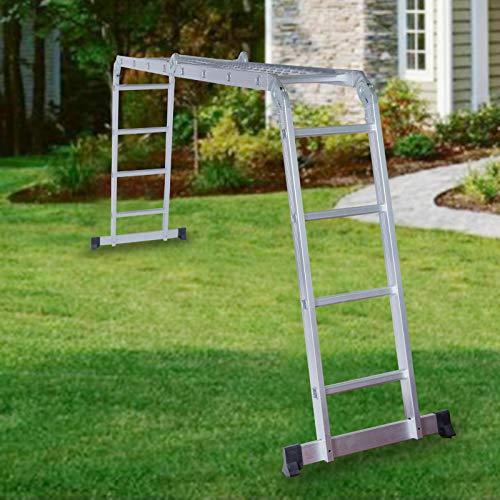 TimmyHouse Folding Extendable Multipurpose Aluminum Ladder 15.5 FT Telescopic Scaffold