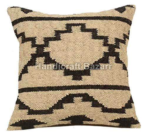 Juego indio de 3 fundas de cojín Kilim de 45 x 45 cm, tejido a mano Kelim, cojín decorativo para el hogar, fundas de almohada de yute, funda de cojín hecha a mano, almohadas decorativas,