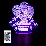 3D Teddy Bear Lamp Mood Lamp 16 Color Nursery Night Lights Illusion Acrylic LED Table Bedside Lamp, Children Bedroom Desk Decor Toy, Personalized Birthday Christmas Gifts for Women Teenage Girls