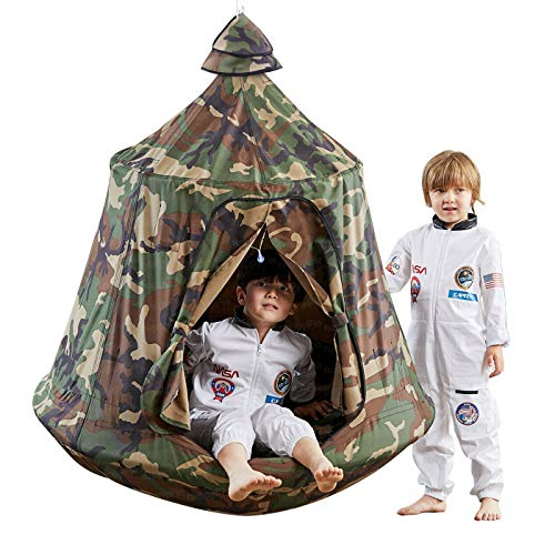 Kids Outdoor Waterproof Play Tent Hanging Hammock with Lights String (Camouflage)