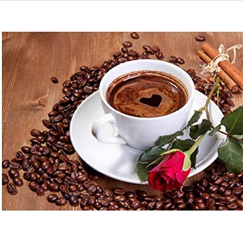 W-S Rose Kaffee Bild Diamant Stickerei Handarbeiten Mosaik Diamant Kreuz DIY 5D Diamant Malerei Dekoration Geschenk 30X40 cm, Quadratischer Bohrer