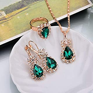 Rings 3 in 1 Gold Chain Water Drop Shape Crystal Earrings Necklace Adjustable Rings Set Women Jewelry Sets(White) Rings (Color : Green)