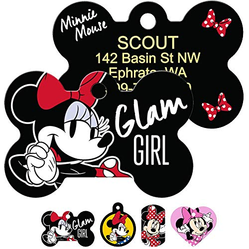 GoTags Minnie Mouse Pet ID Tags, Disney Dog Tags for Dogs and Cats, Personalized Engraved with up to 4 Lines of Custom Text