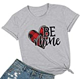 Buffalo Plaid Heart Shirt Top Womens Valentine's Day T Shirt Short Sleeve Cute Graphic Print Tee (XL, Gray)