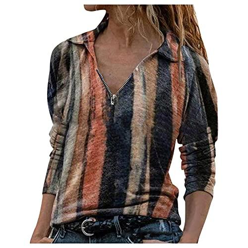 TYTUOO Women Autumn Long Sleeves Zipper Sweatshirt Tops Tie-Dye Blouses V-Neck Tunic Loose Pullover Fashion Casual Comfortable Retro(A-Orange,XL)