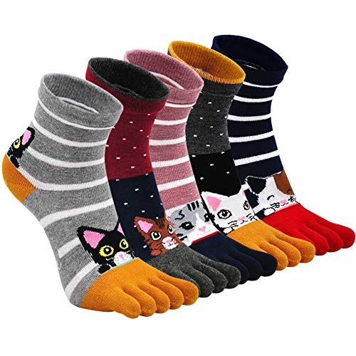 ZFSOCK Zehensocken Damen Baumwolle Bunt Sport Five Finger Socken Zehen Einzeln Lustig Tiere Muster Laufen Socken 36-41, 5 Paare(4/7 Jahre)