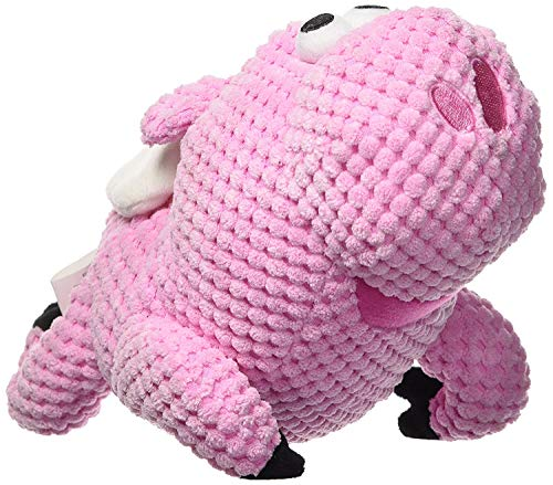 goDog Checkers Flying Pig with Chew Guard Technology Tough Plush Dog Toy, Pink, Large