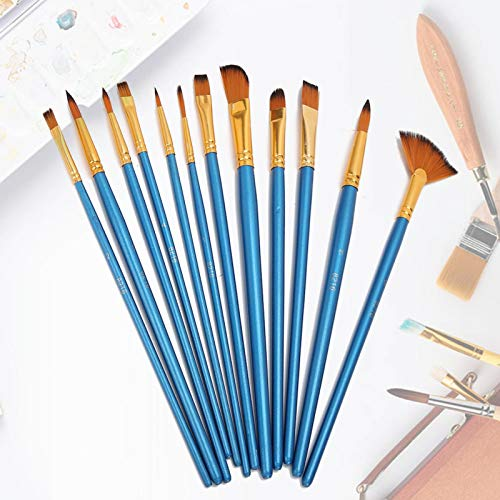 Pincel, 12 unidades, pintura a óleo para pintura a guache acrílico(blue)