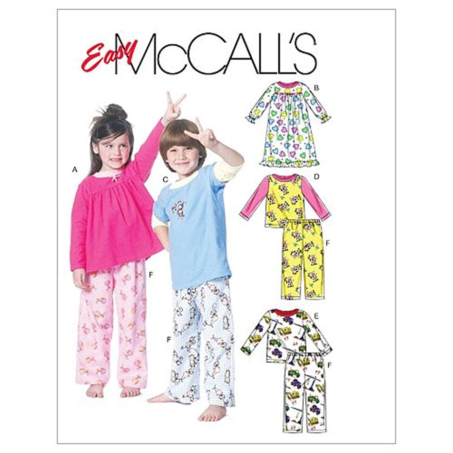 McCall's Patterns M6194 Toddlers'/Children's Tops, Nightgown and Pants, Size CB (1-2-3)
