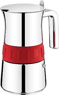 BRA Cafetera Italiana 170568 10T,Elegance, Acero Inoxidable, Gris y Rojo, 10 Tazas