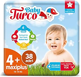 Baby Diapers, Ultra Comfort and Protection Maxi + (10-15 kg) - 38 pcs. - Manufactured in Turkey