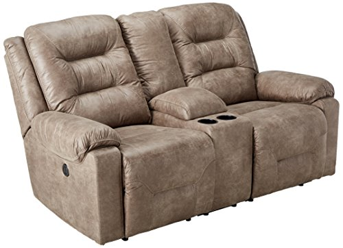 Signature Design by Ashley Rotation Double Reclininglining Power Loveseat with Console Smoke