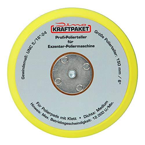 Dino KRAFTPAKET 150mm-Stützteller-5/16-24 640223 mit Klett Polierteller für Exzenter Poliermaschine
