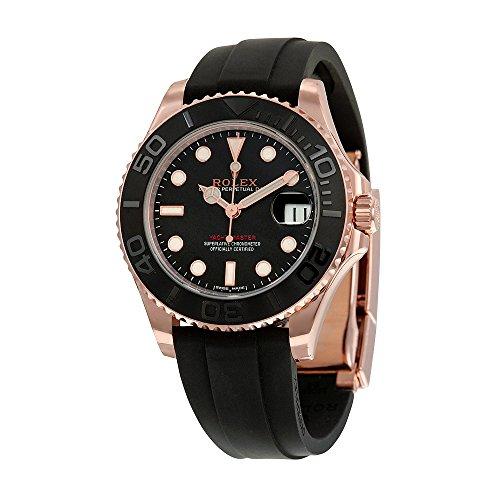 Rolex Yacht-Master Automatic Black Dial 18kt Everose Gold Black Rubber Strap Unisex Watch 268655BKSRS