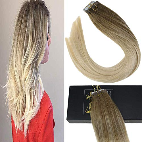 [Promocion] Sunny 20pcs Extensiones de Cabello Natural Adhesivas Balayage 8/60# Tape in...