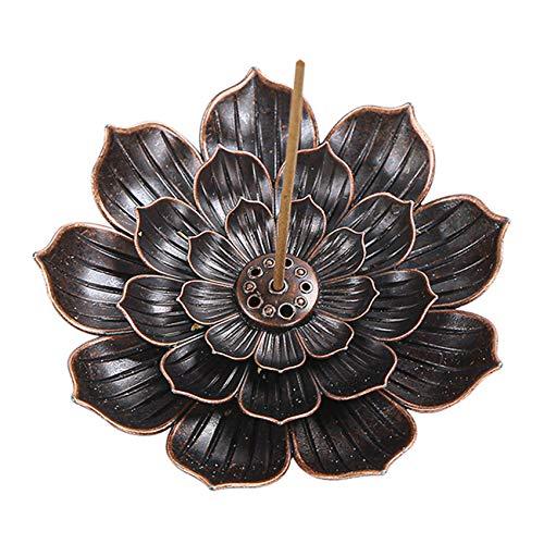 NANAOUS Lotus mässing rökelsehållare 1 paket lotuspinne rökelsebrännare kon rökelsehållare med askfångare för hem doft tillbehör (1 st)