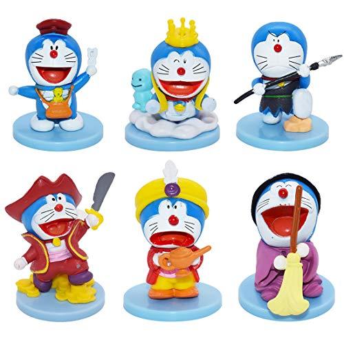 Doraemon Cake Topper - YUESEN Doraemon Mini Juego de Figuras Niños Doraemon Juguetes Fiesta de Cumpleaños Pastel Decoración Suministros 6 Piezas